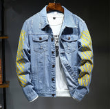 Bomber Ripped Holes Blue Jeans Denim Jacket SE