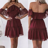 off shoulder ruffles dress SE
