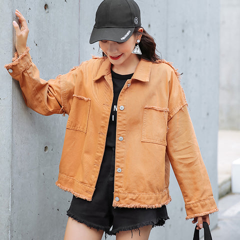 Orange Loose Denim Over Size Turn Down Collar Jeans Jacket Coat