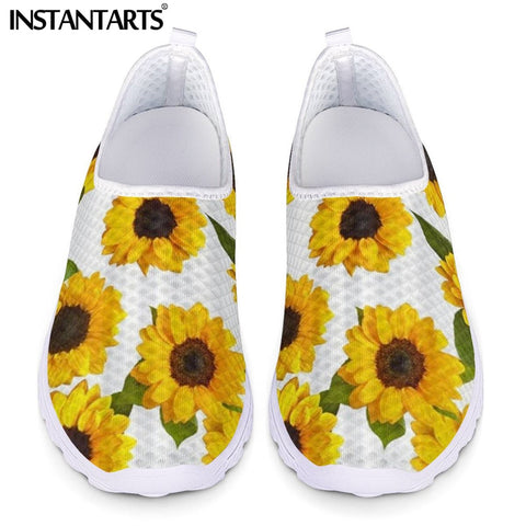 Yellow Floral Sunflower Pattern Flats Slip-on Shoes SE