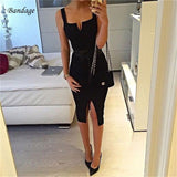 Strap Backless Split Midi Bandage Dress RI