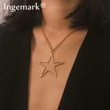 Simple Big Star Pendant Choker Necklace SE
