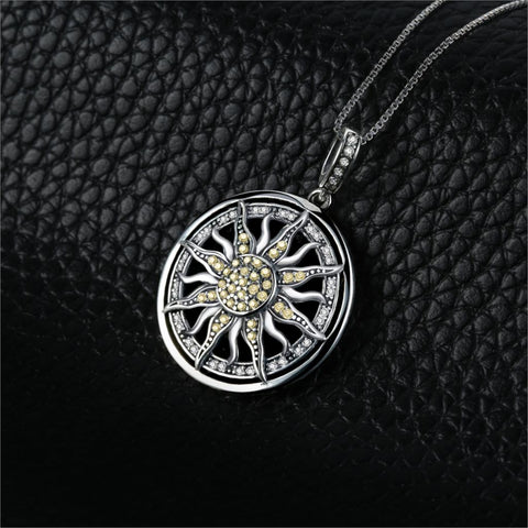 Sun Sterling Silver Charm Pendant Necklace SE