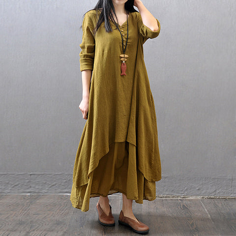 dress Cotton Color Women Spring Long Sleeve
