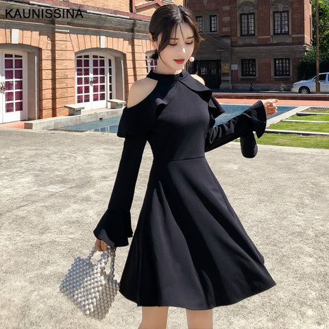 Black Cocktail Cold Shoulder Long Sleeve A-Line Homecoming Dress SE
