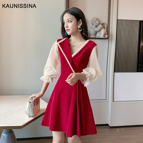 Cocktail Robe 3/4 Sleeve V-Neck A-Line Mini Korea Homecoming Dress SE