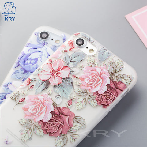 68322a6e3e7 KRY Relief Floral Phone Cases For iPhone 7 Case 6 8 Plus For iPhone X Cases