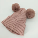 Winter Hat warm Knitted Beanies 2 Pom Poms Hat SE