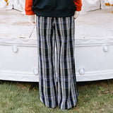 Plaid Trousers Loose Straight Casual Pants SE