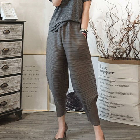 Pattern Elastic Waist Pleated Loose Harem Pants SE