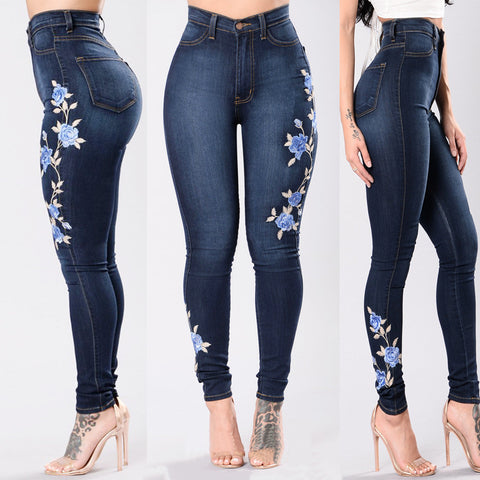 Flower Embroidered Jeans Pant Women