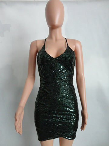 Halter Neck Sequins Party Mini Dress
