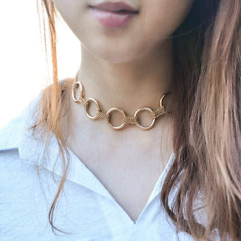Big Circle Chain Choker Necklace RI