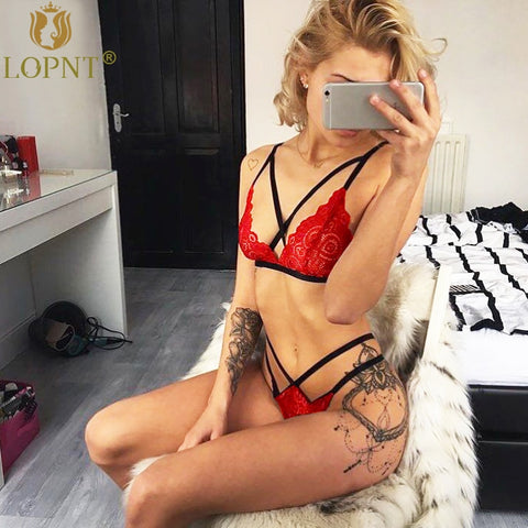 8f0a6ae205506 bra red black lace V bralette bandage hollow out underwear sets