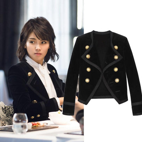 jackets And Coats Short Fashion Slim Thin Double Breasted Velvet