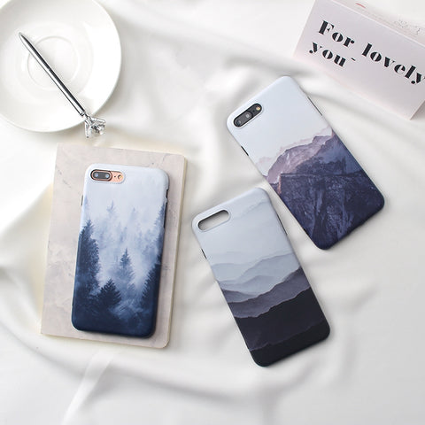 Landscape scenery painted case for iphone X 7 7Plus Forest mountain TPU Case For iphone 6 6s 6Plus 8 8plus back cover