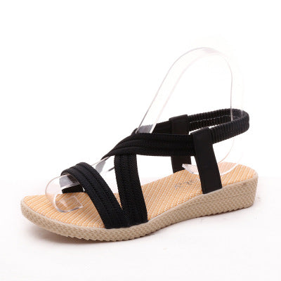 Stretch Flat Bottom Sish Mouth Elastic Sandals