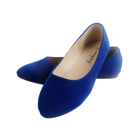 ShoesPointed Toe Flat Ballet Flock Shallow Loafers Slip On Casual