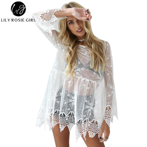 3ea91b21542 Mesh Lace See Through Embroidery Long Sleeve Dress