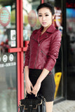 Jackets Plus Size Long Sleeve Solid Color Slim PU