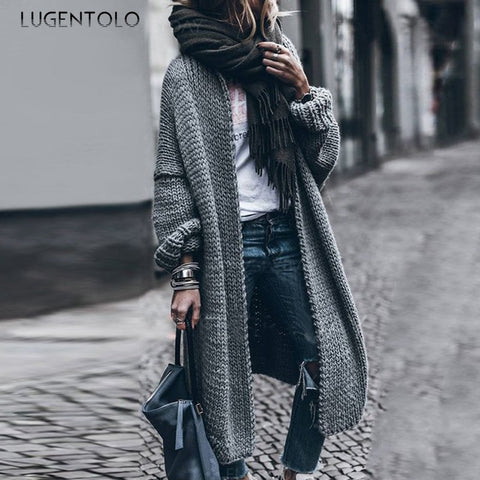 Loose sleeve knit long cardigan sweater SE