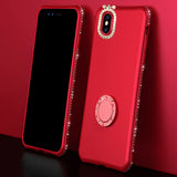 Luxury Bling Diamond Phone Cases For iPhone X 10 8 7 6 6s Plus Case Soft Silicone Cover With Rhinestone Finger Ring Holder Stand