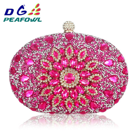 Clutch chain diamond crystal Floral blue red purse wallet Handbags SE