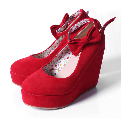 Shoes Elegant Wedges Flock Platform Buckle