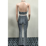 glitter cropped top and long pants two piece set RI