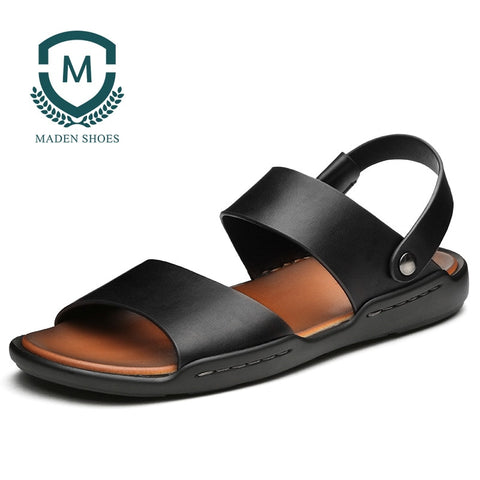Leather Slippers Brown Casual Men Sandals SE
