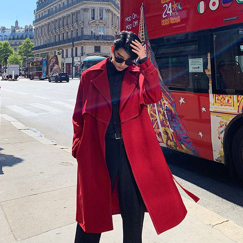 Red Loose Long Jacket Trench Coat Overcoat SE