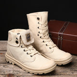 Men Military Canvas High Top Shoes Ankle Boots SE