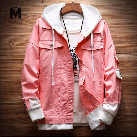 Stitching Ripped Hooded Denim Jacket two pieces RI