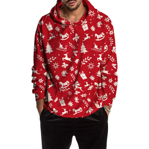 Red Christmas Fun Ugly Print Sweatshirt Hoodie Men SE
