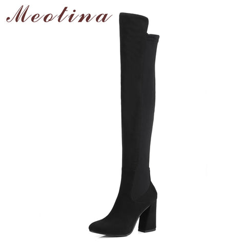 Flock Leather Thigh High Boots Chunky Heel RI