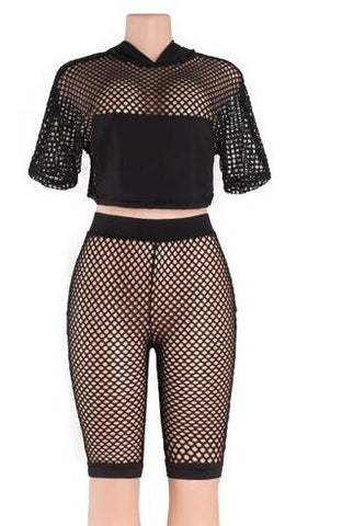 Fish Net Two Piece Short Suit Set RI