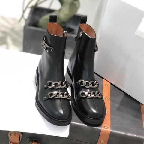 Metal Chains Zip Genuine Leather ThickHigh Top Ankle Boots SE