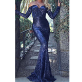 Long Sleeve Off Shoulder Sequin Dress SE