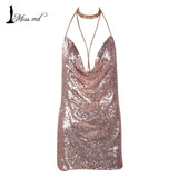 Deep-V halter split sequin backless dress
