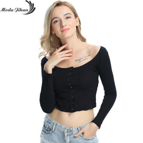 3dba636f9e Buttons Knitted Deep Neck Long Sleeve Cropped T Shirts