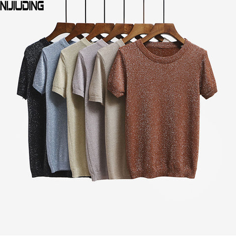 e04fe0a8d Summer Knitted Short Sleeve O-neck T-Shirts Slim Knitwear Top