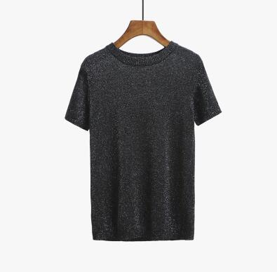 Summer Knitted Short Sleeve O-neck T-Shirts Slim Knitwear Top