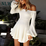 Off Shoulder Lantern Sleeve Mini Knitted PU22