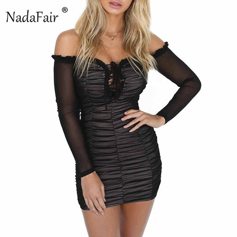 e72c37ddbf Lace Up Long Sleeve Ruched Mesh Dress RI