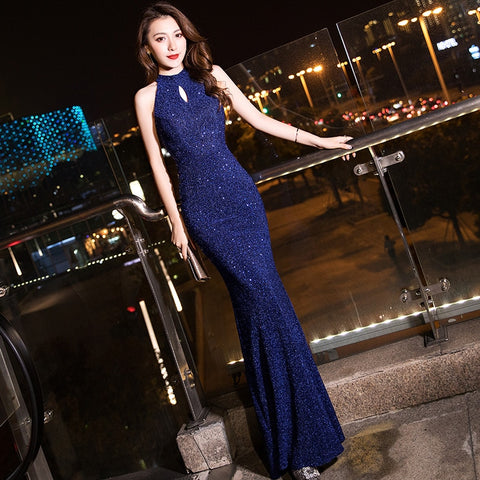 Navy Blue Halter Sleeveless Mermaid Long Zipper Dress SE