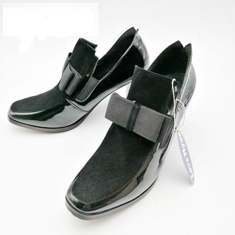 Shoes square toe genuine leather shoes black Sexy