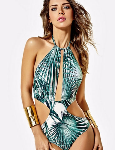 Cut Out halter leaves print swimsuit RI