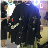 Jacket Women Plus Casual Embroidery Long Sleeve Loose Coats