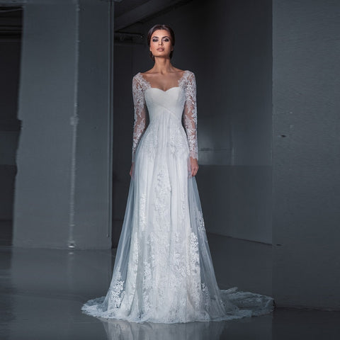 bd5b33ee33d5 Lace Bride Long Sleeves Lace Sweep Train Dress