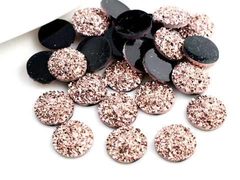New Fashion 40pcs 12mm Rose Gold Plated Colors Flat back Resin Cabochon For Bracelet Earrings accessories